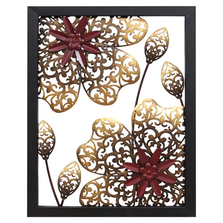 Metal Flower Panel Wall Décor