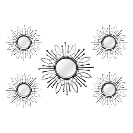 Silver Burst Wall Mirror - 5 piece set