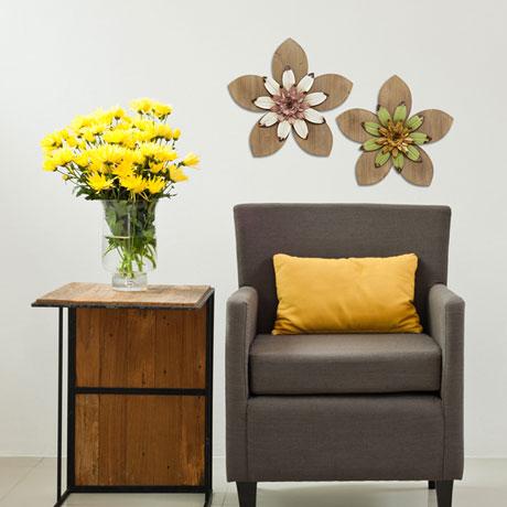 Rustic Flower Wall Décor - Green