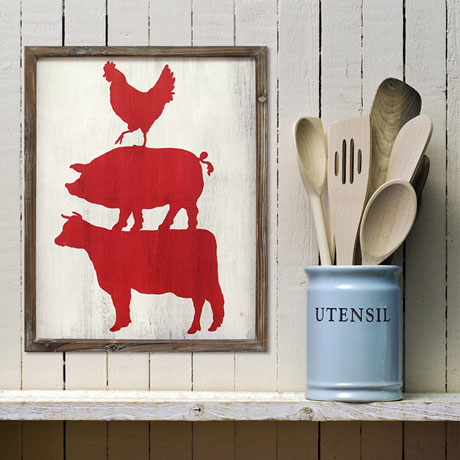 Cow, Pig and Rooster Wall Art