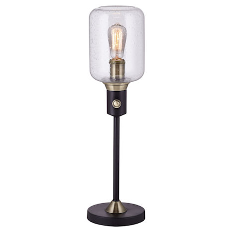 Seeded Glass Edison-Style Table Lamp