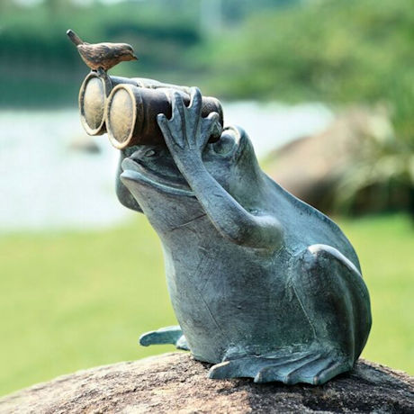 Frog Spectator with Bird Garden Statue