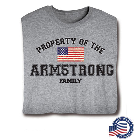 "Personalized Property of ""Your Name"" Family US Flag Patriotic Shirt (Grey) - Made In America"