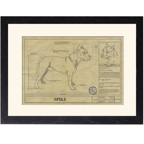 Personalized Framed Dog Breed Architectural Renderings - Pit Bull Terrier