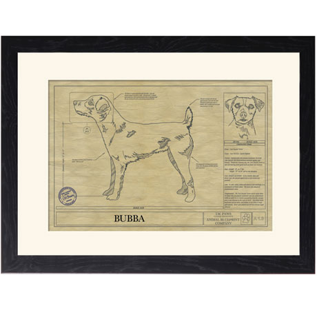 Personalized Framed Dog Breed Architectural Renderings - Jack Russell Terrier
