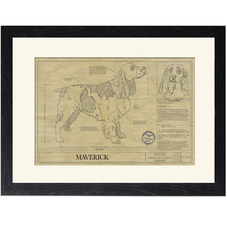 Personalized Framed Dog Breed Architectural Renderings - English Springer Spaniel