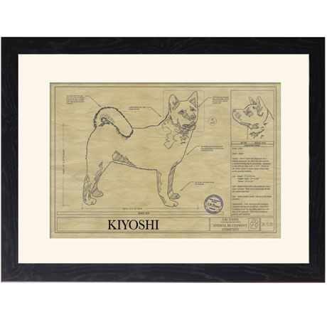 Personalized Framed Dog Breed Architectural Renderings - Akita