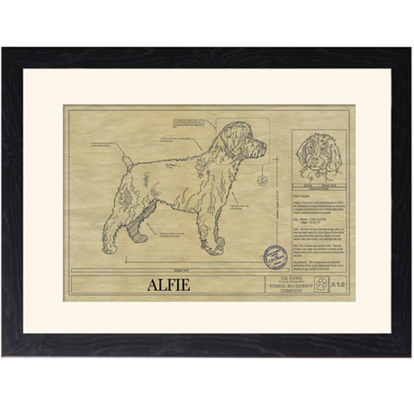 Personalized Framed Dog Breed Architectural Renderings - Cockapoo