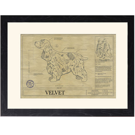 Personalized Framed Dog Breed Architectural Renderings - English Cocker Spaniel