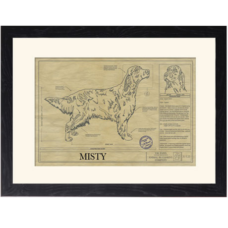 Personalized Framed Dog Breed Architectural Renderings - English Setter