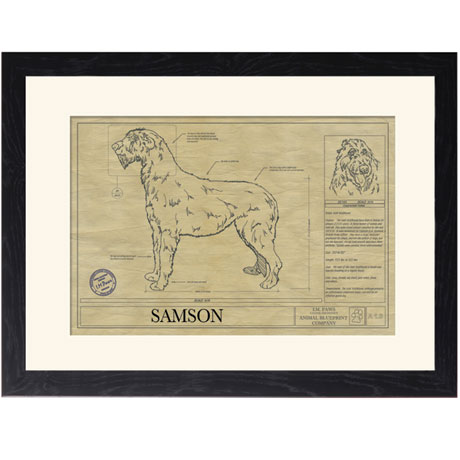 Personalized Framed Dog Breed Architectural Renderings - Irish Wolfhound