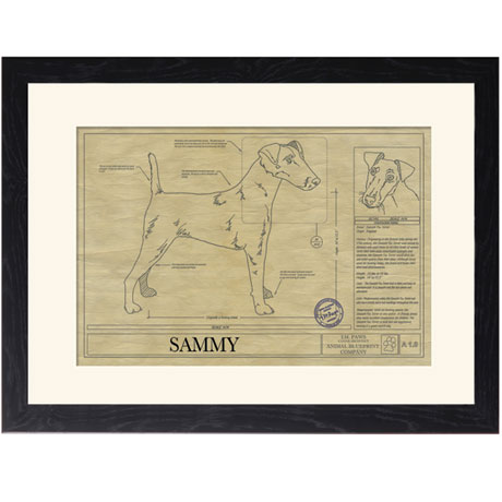 Personalized Framed Dog Breed Architectural Renderings - Smooth Fox Terrier