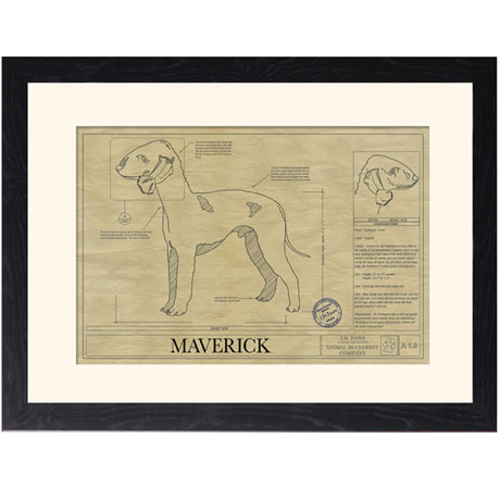 Personalized Framed Dog Breed Architectural Renderings -Bedlington Terrier