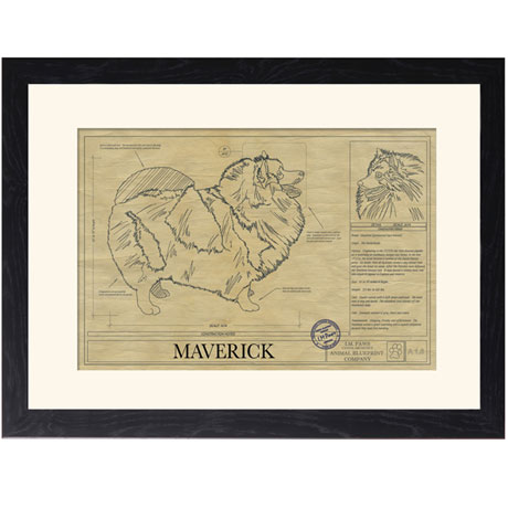 Personalized Framed Dog Breed Architectural Renderings -Keeshond