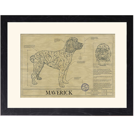 Personalized Framed Dog Breed Architectural Renderings -Whoodle