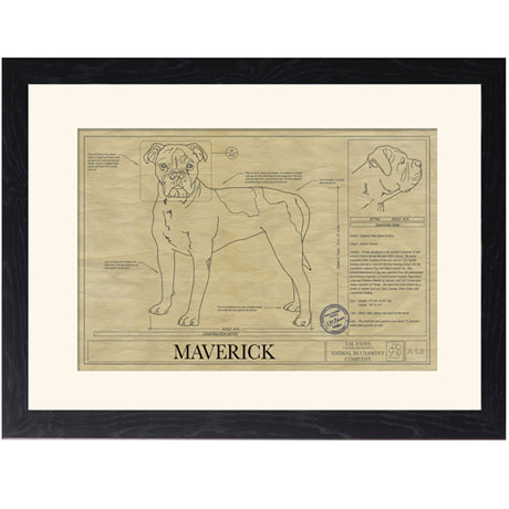 Personalized Framed Dog Breed Architectural Renderings -Alpaha Blue Blood Bulldog