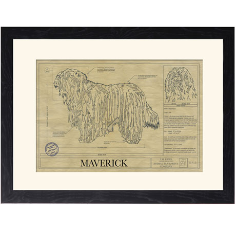 Personalized Framed Dog Breed Architectural Renderings -Bergamasco