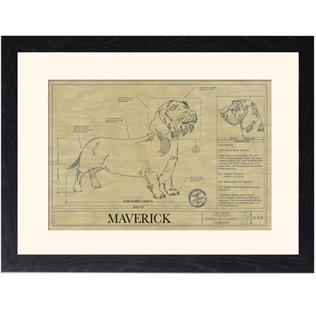 Personalized Framed Dog Breed Architectural Renderings -Wirehaired Dachsund