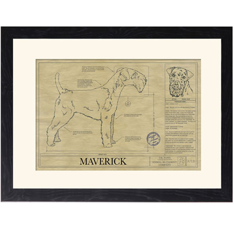 Personalized Framed Dog Breed Architectural Renderings -Lakeland Terrier