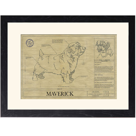 Personalized Framed Dog Breed Architectural Renderings -Norfolk Terrier