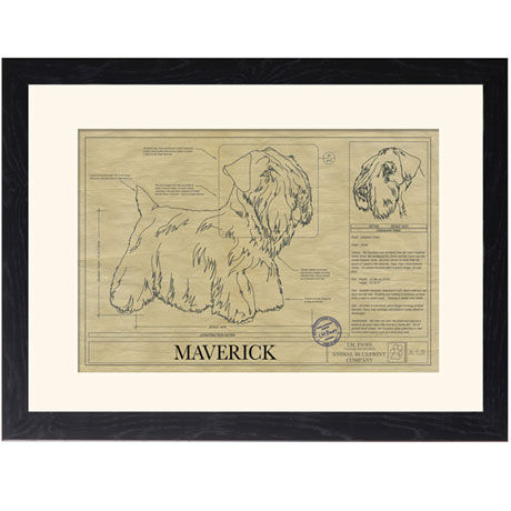 Personalized Framed Dog Breed Architectural Renderings -Sealyham Terrier