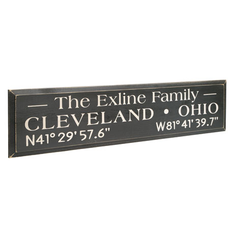 Personalized Family Name/Coordinates Wood Wall Art