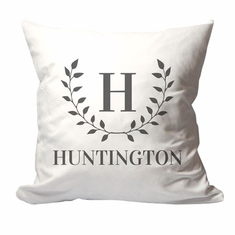 Personalized Laurel Leaves Family Name Pillow