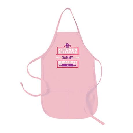 """Personalized Children's Pink """"Kitchen Superstar"""" Apron"""
