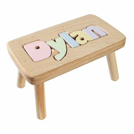 Personalized Children's Wooden Puzzle Stool - 6-8 Letters