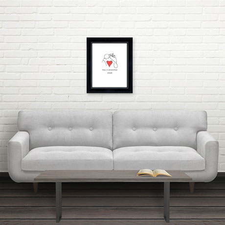 Personalized Framed Couples Line Drawing