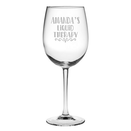 "Personalized ""Liquid Therapy"" Stemmed Wine Glass"