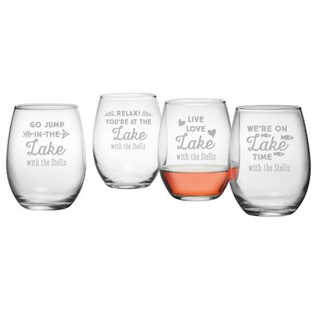 Personalized Lake House Stemless Wine Glasses - Set of 4
