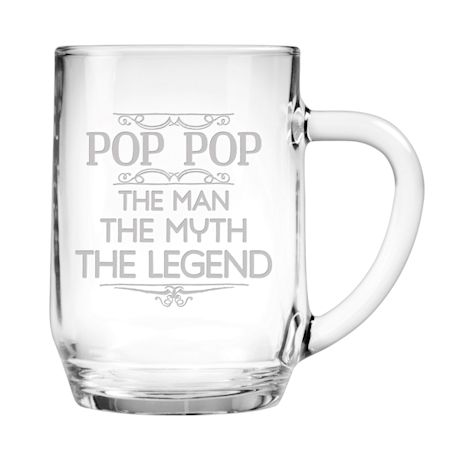 "Personalized ""Man, Myth, Legend"" Large Glass Mug"