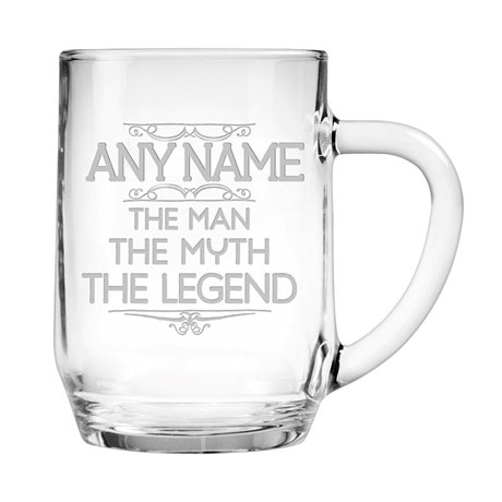 "Personalized ""Man, Myth, Legend"" Large Glass Mug"
