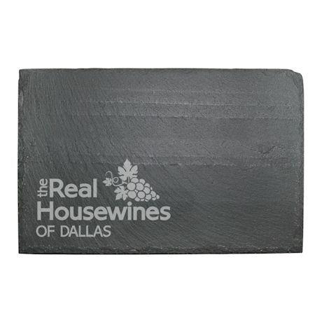 "Personalized ""Real Housewines"" Stemless Wine Glasses and Slate Cheese Board Set"