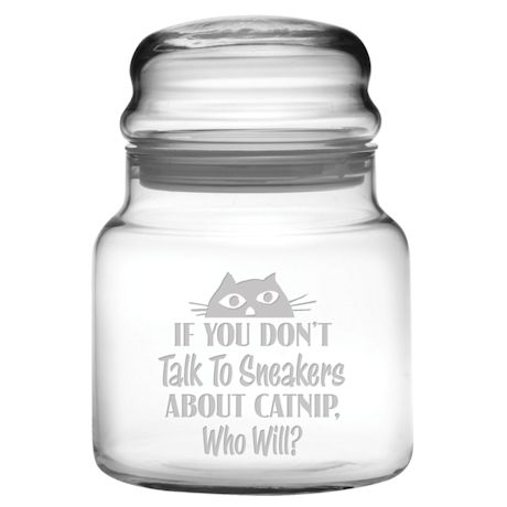 Personalized Catnip Treat Glass Jar