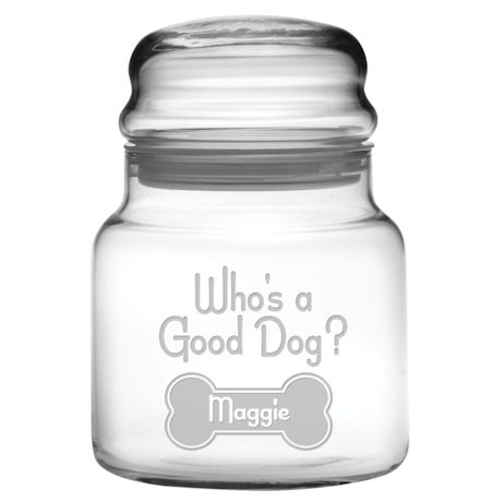 "Personalized ""Who's a Good Dog?"" Glass Treat Jar"