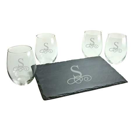 Personalized Initial Stemless Wine Glasses and Slate Cheese Board Set - Vintage Font