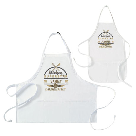 "Personalized ""Kitchen Superstar"" Mommy and Me Apron Set"