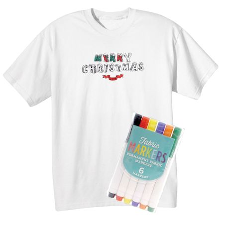"Children's Color Your Own ""Merry Christmas"" T-Shirt & Markers Set"