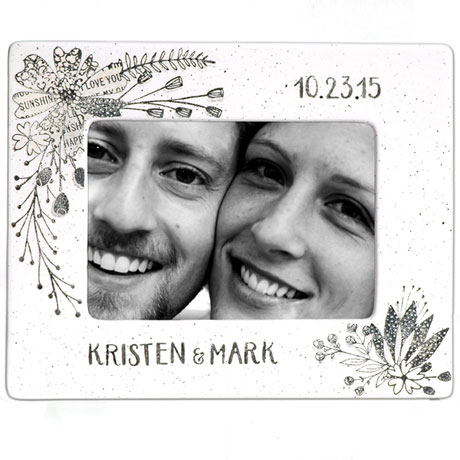 Handmade Ceramic Floral Couple Photo Frame - 8x10
