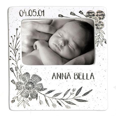 Handmade Ceramic Floral Baby Photo Frame - 7 ½ x 8