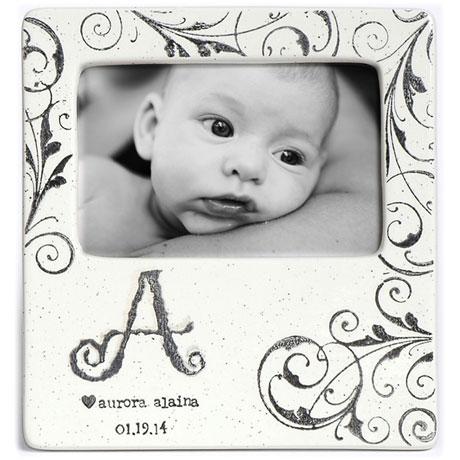 Handmade Ceramic Monogram Baby Photo Frame