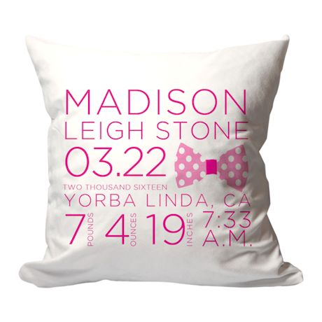 Personalized Pink Bow Birth Announcement Pillow