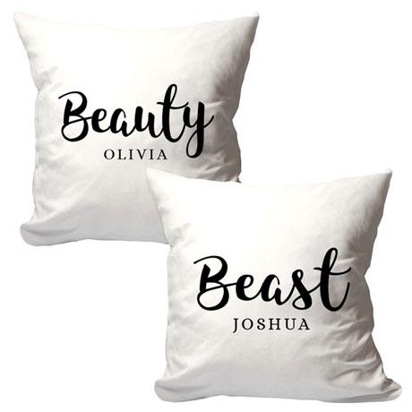 Personalized Beauty & Beast Pillow Set