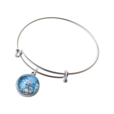 Custom Map Adjustable Bangle Bracelet