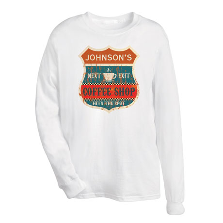 """Personalized """"Your Name"""" Vintage Coffee Shop Tee"""