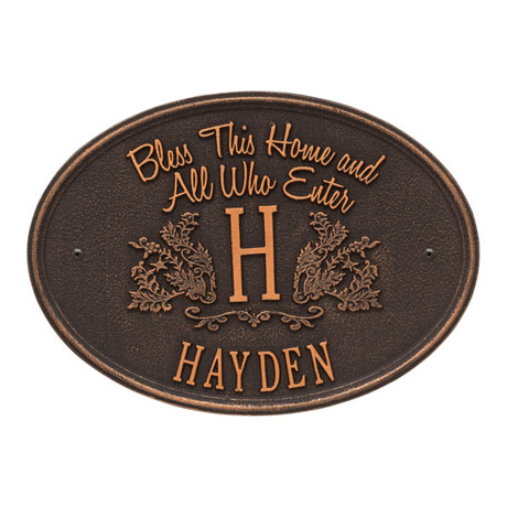 """Personalized """"Bless This Home"""" Wall Plaque"""