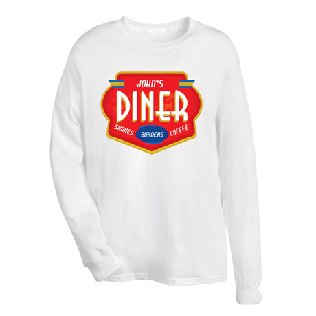 """Personalized """"Your Name"""" Shakes, Burgers, Coffee Diner Tee"""