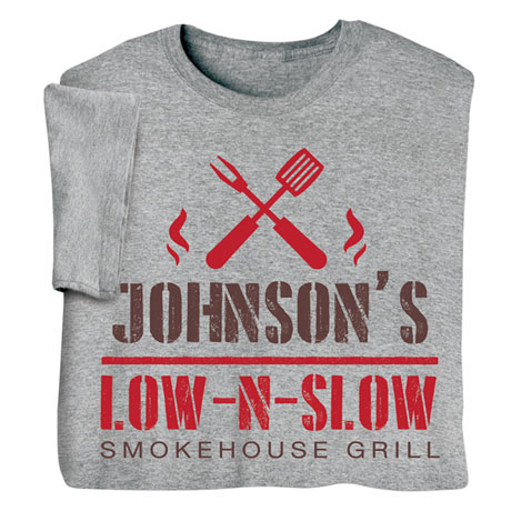 """Personalized """"Your Name"""" Low N' Slow BBQ Tee"""